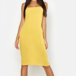 Yellow/Mustard Bandeau Midi Dress
